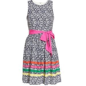 NWT Eliza J Navy Print Belted Dress 16W